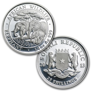 2013 4-Coin Proof Silver Somalian African Elephant Set